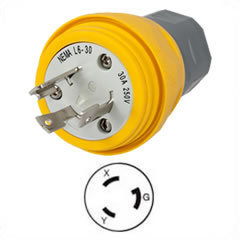 US-Stecker HBL28W48 Nema L6-30, 30A, 250V, 2P3W, Watertight