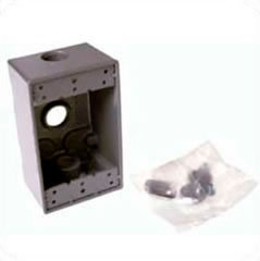 "Hubbell Weatherproof Single-Gang-Box 3 x 3/4"" Outlets 5324-0"