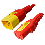 Red Power Cord V-Lock C14 Plug to C13 Connector 0,9 Meter