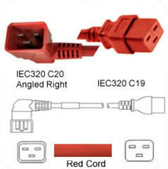 Red Power Cord C20 Right Male to C19 Female 1.2m 20A 250V 12/3 SJT