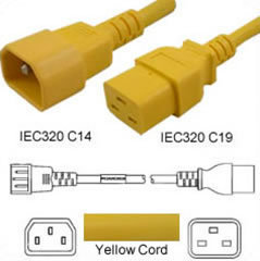 Power Cord gelb C14 Male auf C19 Female, 1.5m 15A 250V SJT 14/3