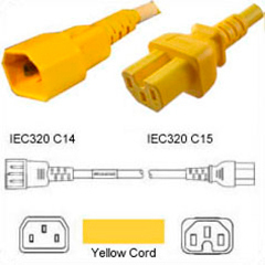 Yellow Power Cord C14 Plug to C15 Connector 1,5 Meter