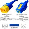 Blue Power Cord V-Lock C20 Plug to C19 Connector 1,2 Meter