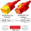 Red Power Cord V-Lock C20 Plug to C19 Connector 1,2 Meter