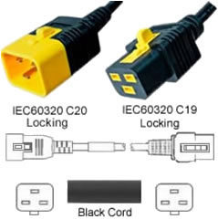 Black Power Cord V-Lock C20 Plug to C19 Connector 3,7 Meter