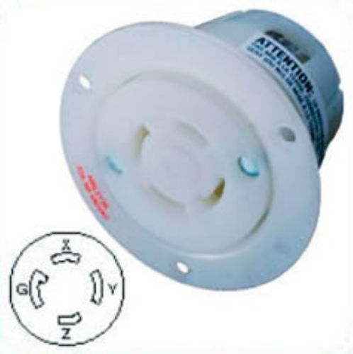 US-Flanged Female Outlet HBL2736 NEMA L16-30, 30A, 3 Phase 480V, 3P4W