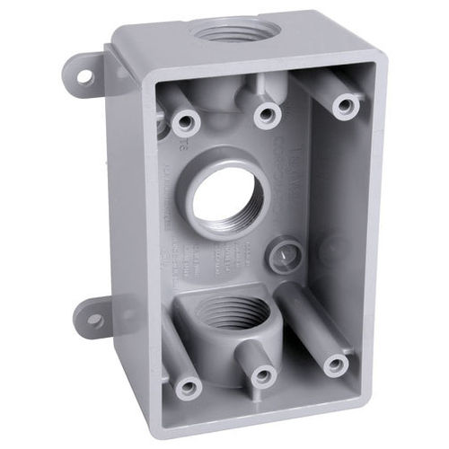 "Box für US-Aufbausteckdose grau - Weatherproof Outlet Box  3 x 1/2"" oder 3/4"" Outlets"