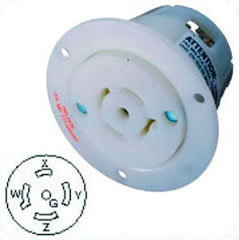 US-Flanged Female Outlet HBL2526 NEMA L22-20, 20A, 3 Phase 277/480V, 4P5W
