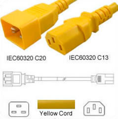 Yellow Power Cord C20 to C13 1.5m 15A 250V 14/3 SJT, UL/cUL