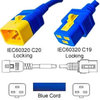 Blue Power Cord V-Lock C20 Plug to C19 Connector 1,5 Meter
