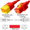 Red Power Cord V-Lock C20 Plug to C19 Connector 1,5 Meter