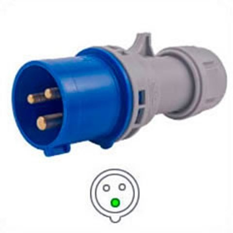 Stecker IEC 60309 316P6 Male IEC 309 Pin & Sleeve IP44, 250V 16A