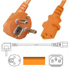 Netzkabel orange Stecker CEE 7/7 90°/IEC 60320-C13, 180cm, 3x0.75, CE