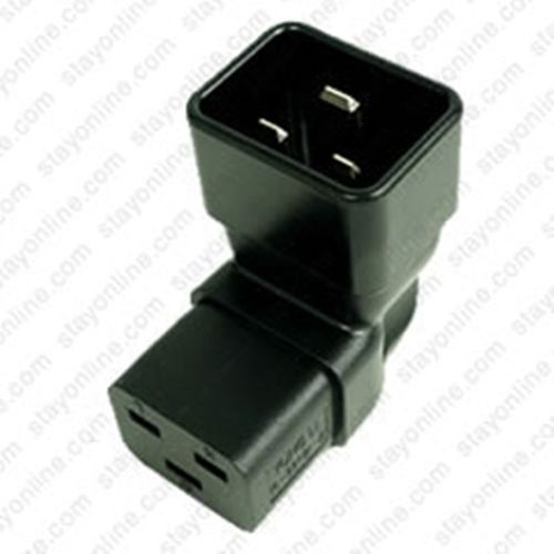 Adapter IEC 60320 C20 zu C19 Down Angle Block Adapter - schwarz